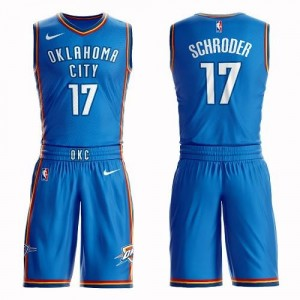 Nike NBA Maillots Basket Schroder Thunder No.17 Homme Bleu royal Suit Icon Edition