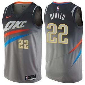 Nike NBA Maillots Basket Diallo Oklahoma City Thunder City Edition Gris Homme #22