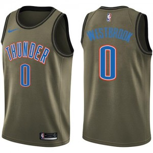 Maillot Basket Russell Westbrook Thunder Salute to Service Enfant No.0 vert Nike