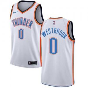 Maillots De Westbrook Thunder #0 Nike Blanc Enfant Association Edition