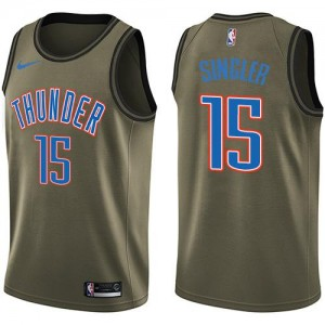 Maillots Basket Kyle Singler Oklahoma City Thunder Nike vert Enfant No.15 Salute to Service