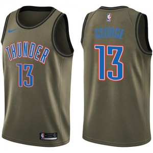 Nike Maillot Paul George Thunder No.13 Salute to Service vert Enfant