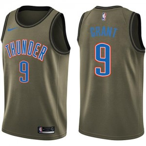 Nike NBA Maillots Jerami Grant Thunder Homme No.9 vert Salute to Service