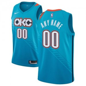 Maillot Personnalisable Basket Oklahoma City Thunder Turquoise Homme Nike City Edition