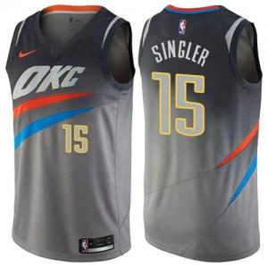 Nike Maillots De Kyle Singler Thunder Enfant City Edition No.15 Gris