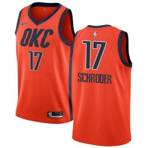 Nike NBA Maillots De Basket Schroder Oklahoma City Thunder No.17 Orange Enfant Earned Edition