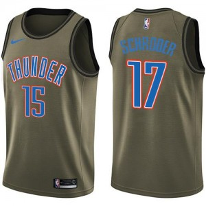 Maillots Basket Schroder Oklahoma City Thunder Salute to Service vert Nike Enfant #17