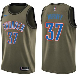 Nike NBA Maillots Kevin Hervey Thunder #37 Salute to Service vert Enfant
