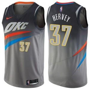 Nike Maillots Basket Hervey Oklahoma City Thunder Enfant #37 Gris City Edition