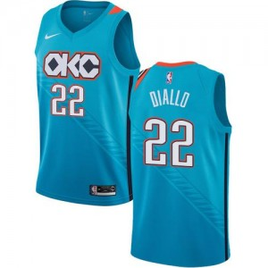 Nike Maillot Basket Hamidou Diallo Oklahoma City Thunder Turquoise No.22 Homme City Edition