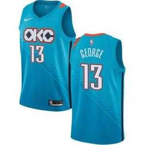 Nike Maillots Basket George Oklahoma City Thunder Homme #13 Turquoise City Edition
