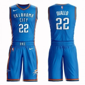 Nike Maillot De Hamidou Diallo Thunder No.22 Homme Suit Icon Edition Bleu royal