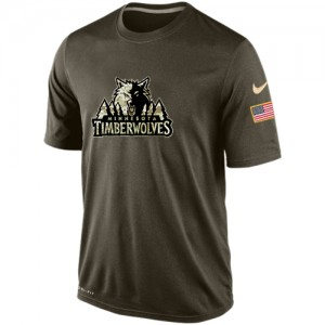 Nike T-Shirt Basket Timberwolves Olive Salute To Service KO Performance Dri-FIT Homme