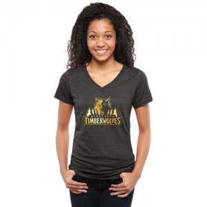 T-Shirt Minnesota Timberwolves Noir Femme Gold Collection V-Neck Tri-Blend