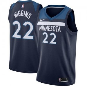 Nike NBA Maillots Basket Wiggins Timberwolves bleu marine #22 Icon Edition Homme