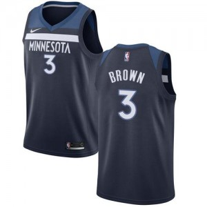 Maillots Anthony Brown Timberwolves Icon Edition #3 Nike Homme bleu marine