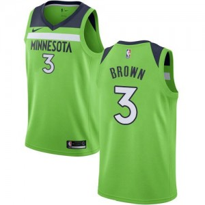 Nike NBA Maillots Brown Timberwolves No.3 vert Statement Edition Homme