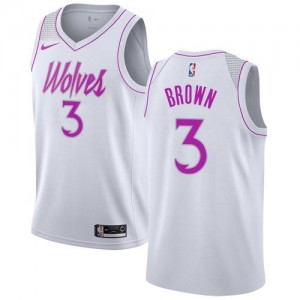 Maillots Brown Timberwolves No.3 Blanc Earned Edition Homme Nike