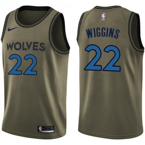 Nike NBA Maillots Basket Andrew Wiggins Timberwolves Salute to Service vert Enfant No.22