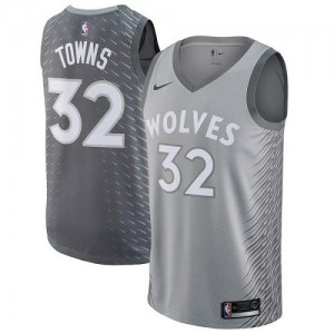 Nike Maillots Basket Towns Timberwolves City Edition No.32 Gris Enfant