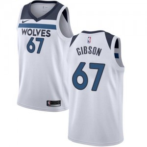 Nike Maillots Gibson Minnesota Timberwolves Enfant Blanc #67 Association Edition
