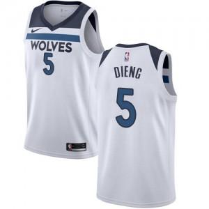 Maillot De Gorgui Dieng Timberwolves #5 Enfant Blanc Nike Association Edition