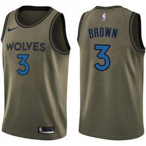 Maillot Brown Timberwolves Salute to Service #3 Nike Homme vert