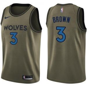 Maillot De Basket Anthony Brown Timberwolves Nike Enfant vert Salute to Service #3