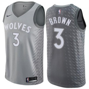 Maillot Anthony Brown Timberwolves Gris #3 Nike Homme City Edition