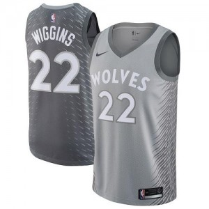 Nike NBA Maillots Basket Wiggins Minnesota Timberwolves Gris #22 Homme City Edition