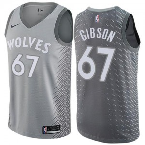 Nike NBA Maillots Basket Taj Gibson Timberwolves City Edition #67 Enfant Gris