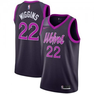 Nike Maillot Andrew Wiggins Minnesota Timberwolves City Edition No.22 Violet Homme