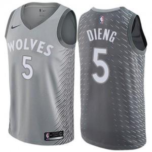Maillot Basket Gorgui Dieng Minnesota Timberwolves No.5 City Edition Homme Gris Nike