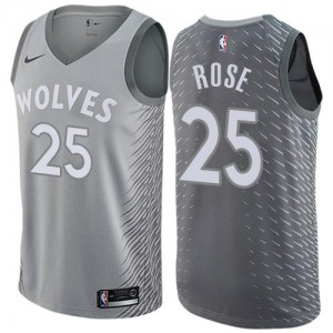 Nike Maillot De Derrick Rose Minnesota Timberwolves No.25 Gris Enfant City Edition