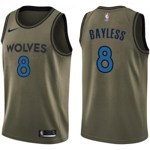 Nike Maillots Bayless Timberwolves Salute to Service No.8 Homme vert
