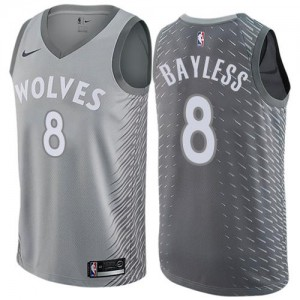 Nike Maillots De Bayless Minnesota Timberwolves No.8 Enfant City Edition Gris