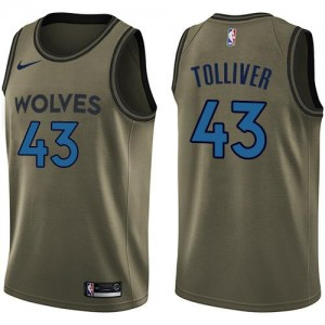 Nike Maillot De Anthony Tolliver Minnesota Timberwolves Enfant vert #43 Salute to Service