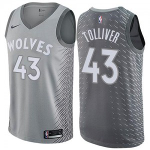 Nike Maillots Anthony Tolliver Timberwolves City Edition No.43 Enfant Gris