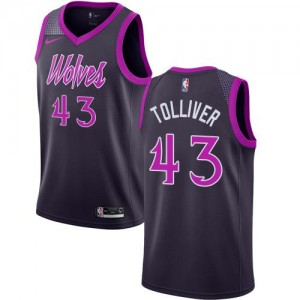 Maillots Basket Tolliver Minnesota Timberwolves #43 City Edition Violet Nike Homme