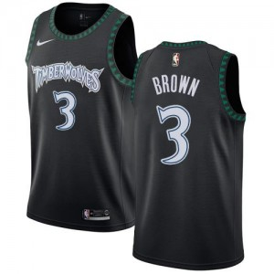 Nike Maillot Basket Anthony Brown Minnesota Timberwolves Hardwood Classics Noir #3 Homme