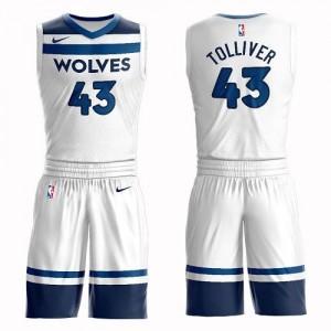 Maillot De Basket Anthony Tolliver Timberwolves Blanc No.43 Nike Suit Association Edition Enfant