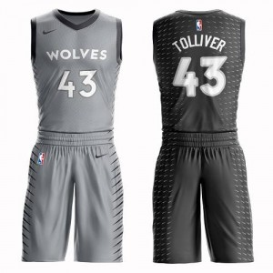 Nike Maillot Tolliver Timberwolves No.43 Suit City Edition Homme Gris