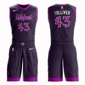 Nike Maillots De Tolliver Minnesota Timberwolves Homme Violet #43 Suit City Edition