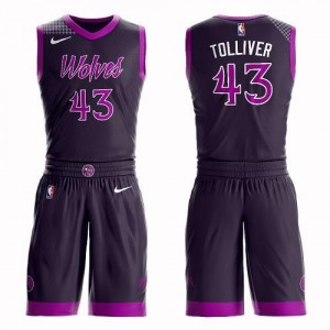 Nike Maillot Basket Tolliver Timberwolves Suit City Edition Violet Enfant No.43