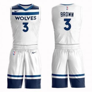 Maillots Anthony Brown Minnesota Timberwolves Blanc No.3 Nike Homme Suit Association Edition