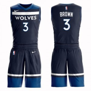 Nike NBA Maillots Anthony Brown Timberwolves #3 bleu marine Suit Icon Edition Homme
