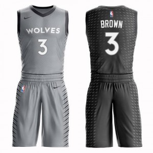 Nike NBA Maillots Basket Brown Minnesota Timberwolves Gris No.3 Suit City Edition Enfant
