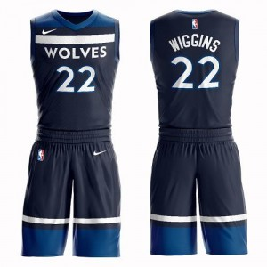 Nike NBA Maillots Basket Wiggins Minnesota Timberwolves bleu marine #22 Suit Icon Edition Homme