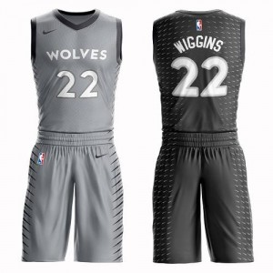 Nike NBA Maillots Basket Andrew Wiggins Timberwolves Gris Enfant Suit City Edition #22