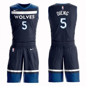 Maillots Gorgui Dieng Minnesota Timberwolves Nike Homme bleu marine No.5 Suit Icon Edition